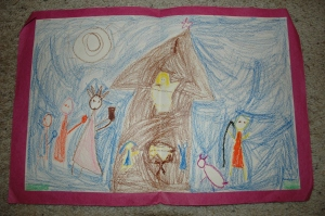 My Nativity drawing, circa 1975.  How fun is this?!